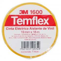 CINTA TEMFLEX 1600 AMARILLA 3/4in X 27Ft ( 19mm X 8.3m)