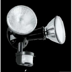 REFLECTOR CON SENSOR DE MOVIMIENTO 2 X 120W 127 NEGRO PARA PARED