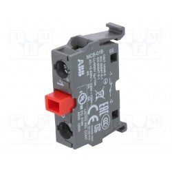 Contacto Auxiliar 1NC para Botonera, MCB-01B Montaje a riel DIN con adaptador, Montaje POSTERIOR