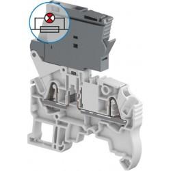 Clema de paso 3P con portafusible indicador 5x20mm cal. 12 AWG 6.3A 300V Color Gris