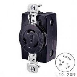 TOMACORRIENTE 3 FASES 3 HILOS 20A 125/250V NEMA L10-20 USO INDUSTRIAL
