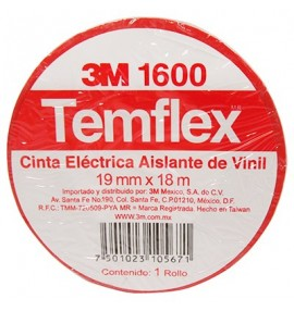 CINTA TEMFLEX 1600 ROJA 3/4in X 27 Ft (19mm X 8.3m)