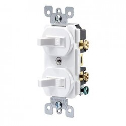 APAGADOR DOBLE TOGGLE 15 A 120/277 V BLANCO USO COMERCIAL
